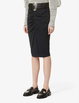 Me And Em Ruched stretch-jersey midi skirt