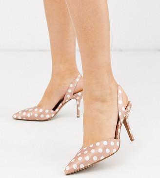 ASOS DESIGN Wide Fit Whitby slingback mid-heels in beige polka dot