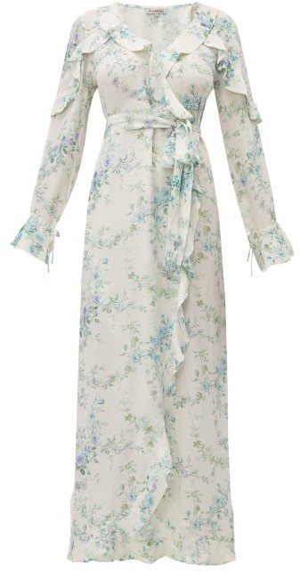 D'Ascoli Bedford Floral-print Silk Dress - Womens - Blue