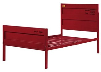 ACME Furniture Acme Cargo Container Style Metal Twin Panel Bed in Red