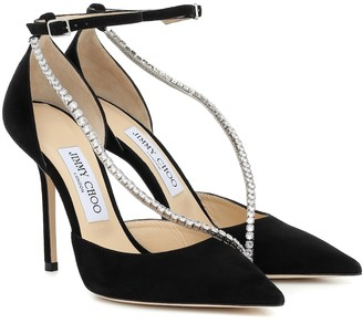 Jimmy Choo Talika 100 embellished suede pumps