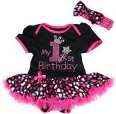 Petitebella My 1st Birthday Dress Black Bodysuit Hearts Tutu Nb-18m (6-12 Months)