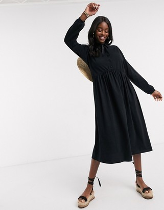 ASOS DESIGN midi shirt smock dress with tiering and puff sleeve in black