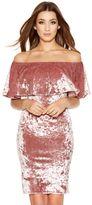 Quiz Rose Pink Crushed Velvet Frill Dress