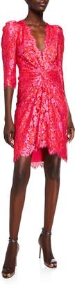 Monique Lhuillier Floral Lace V-Neck High-Low Ruched Bodice Mini Dress