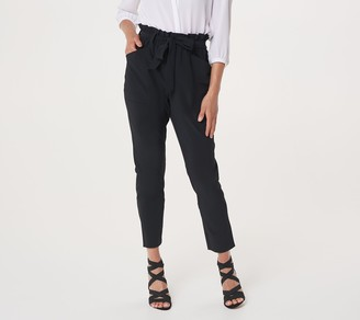 Susan Graver Weekend Petite Tech Woven Paper Bag Waist Ankle Pants