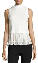 Rebecca Taylor Terry Lace-Hem Mock-Neck Top, Chalk