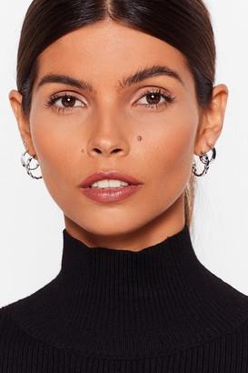 Nasty Gal Womens Listen Up 3-Pc Hoop Earring Set - Silver