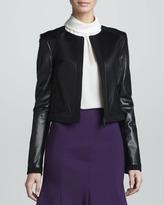 Jason Wu Zip-Front Leather Jacket, Black