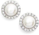 Givenchy Pavé Faux Pearl Button Earrings