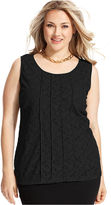 Alfani Plus Size Top, Sleeveless Lace Pintucked