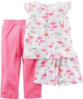 "Carter's Little Girls' Toddler ""Flamingo Party"" 3-Piece Pajama Set"
