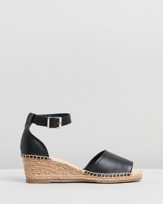 Human Premium - Women's Black Sandals - Helene Leather Wedge Heels - Size 39 at The Iconic
