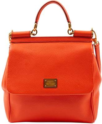 Dolce & Gabbana Sicily Orange Leather Handbags