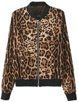Alionz Women Autumn Stand Collar Leopard Print Outwear Cardigan Blazer Jacket L