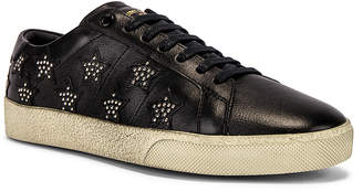 Saint Laurent Court Classic Studded California Sneakers in Black & Silver | FWRD