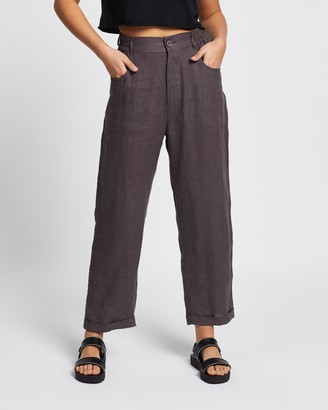 AERE - Women's Grey Pants - Casual Linen Pants - Size 6 at The Iconic