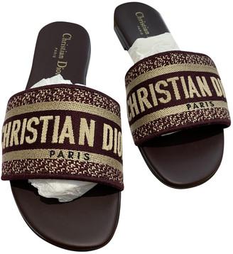 Christian Dior Dway Burgundy Cloth Sandals