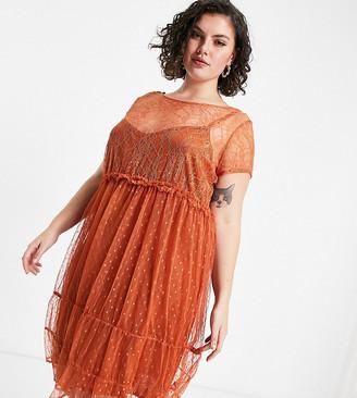 Vero Moda Curve lace midi dress in auburn red