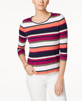 Charter Club Petite Cotton Mixed-Stripe Top, Only at Macy's