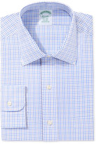 Brooks Brothers Milano Extra Slim Fit Non-Iron Light Blue Plaid Dress Shirt
