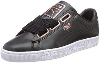 Puma Women's Basket Heart Leather Low-Top Sneakers, Black-Rose Gold