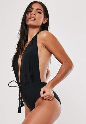 Missguided Black Deep Plunge Backless Swimsuit