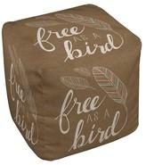 """Thumbprintz Taupe Brown Free As Bird Pouf (18""""X18""""X18"""")"""