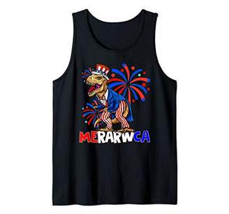 Funny 4th Of July Dinosaur MeRARWca America USA Fourth Tank Top