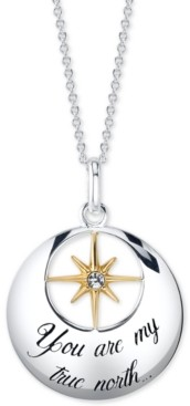 Unwritten Cubic Zirconia Star Necklace in Sterling Silver & Gold-Flash, 18""