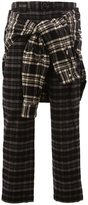 Miharayasuhiro wrap detail plaid trousers