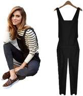 SoForYou SFY Fashion Women Elastic Waist Jumpsuit Suspenders Bib Pants Overall Trousers