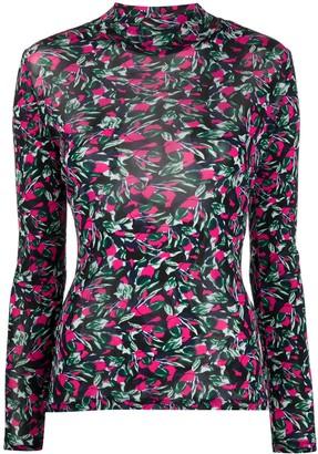 Diane von Furstenberg Floral Print Long-Sleeved Blouse