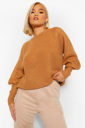 boohoo Petite Balloon Sleeve Knitted Sweater
