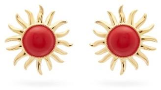Aurelie Bidermann Helios Sun Clip Earrings - Red Gold