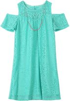 Speechless Girls Plus Size Crochet Lace Overlay Shift Dress with Necklace
