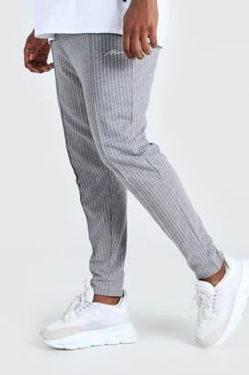 boohoo Mens Grey Plus Size MAN Pinstripe Jacquard Joggers, Grey