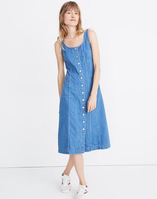 Madewell Denim Button-Front Jumper Midi Dress