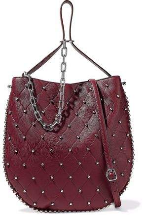Alexander Wang Studded Quilted Textured-Leather Shoulder Bag