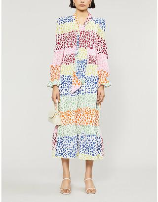 NEVER FULLY DRESSED Esme graphic-print crepe midi dress