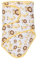 Miracle Blanket Swaddle in Giraffes and Lions with Butter Trim