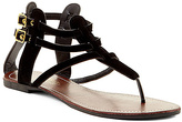 Charles Albert Black Double-Buckle T-Strap Sandal