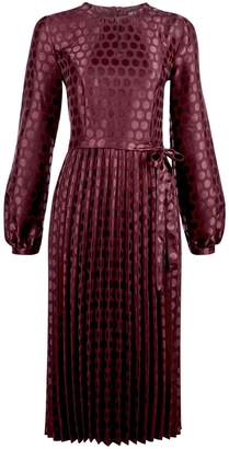 Dorothy Perkins Jacquard Spot Midi Dress - Burgundy