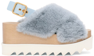 Stella McCartney Blue Furry Elyse Platform Sandals