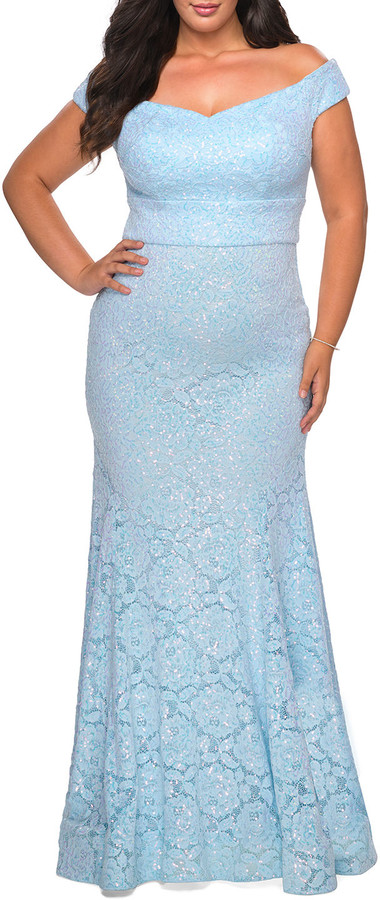 La Femme Plus Size Lace Off-the-Shoulder Gown