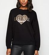 New Look Luxe Animal Print Heart Slogan Sweatshirt