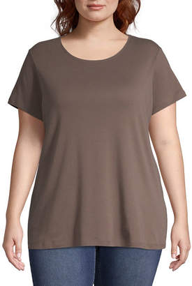 ST. JOHN'S BAY Plus-Womens Crew Neck Short Sleeve T-Shirt