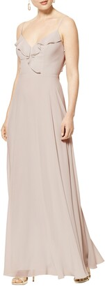 #Levkoff Lattice V-Back Chiffon Gown