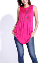 Reborn Collection Women's Tunics Fuchsia - Fuchsia Pin Tuck Sleeveless Notch Neck Tunic - Women & Plus