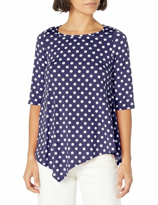 Star Vixen Women's Short Sleeve Stretch Ity Knit Top with Keyhole Cutout Back and Shirttail Hem